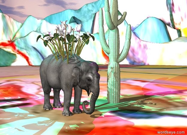 Input text: the elephant is four feet left of the large succulent.  the very huge flower is 2 feet in the elephant.  the cyan light is above the flower. the magenta light is above the succulent.    the ground is  very tall. it has a matisse texture.
