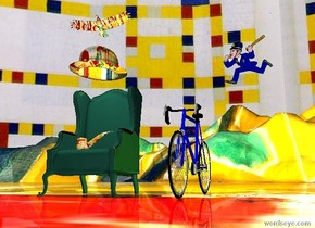 Very large chair to the left. Enormous Matisse bowler hat one foot above chair. Enormous matisse pipe on chair. very large bicycle six feet  to the right of chair.  police officer three feet above bicycle two feet to the right. Large Matisse  bird two feet above bowler.matisse  ground. Mondrian  Sky. White light two feet above chair.white light below bird.yellow light to right of bicycle.