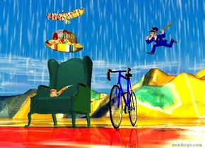 Very large chair to the left. Enormous Matisse bowler hat one foot above chair. Enormous matisse pipe on chair. very large bicycle six feet  to the right of chair.  police officer three feet above bicycle two feet to the right. Large Matisse  bird two feet above bowler.matisse  ground.[image-8570]  Sky. White light two feet above chair.white light below bird.yellow light to right of bicycle.