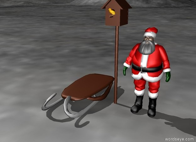 Input text: huge birdhouse next to small santa claus.terrain. luge