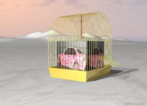 The [bmwlack] is in the shiny golden cage. the ground is blue marble