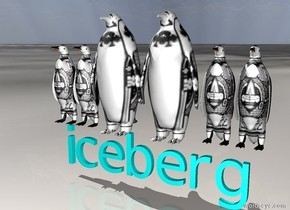 The ground is ice. Six king penguins are on the cyan iceberg.