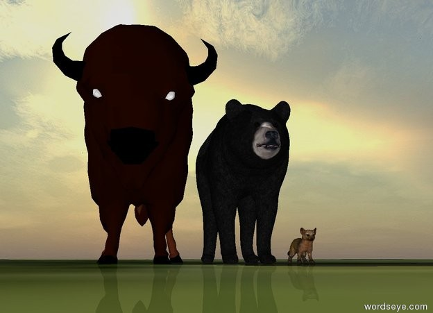 Input text: american marten and american black bear And american bison. The ground is grass. The sun is behind the bison