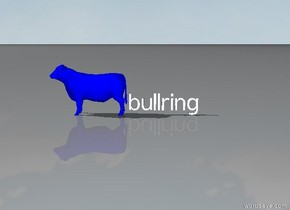 there is a bullring. there is a blue bull facing east at the left.