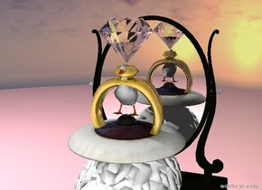 Eye UFO above the white brain. UFO is 70 meters wide. Brain is 70 meters high. Duck is on the top of UFO. Transparent diamond is above the duck. Diamond is 25 meters high. Gold ring with red stone is on the brain. Ring is 50 meters high. Red banana is  in the front of the brain. Banana is 15 meters high. Duck is 30 meters high. The ground is pink. Two pink balls are behind banana. balls are 15 meters high. Lips are above the banana. Lips are 15 meters high. light is in the diamond. Mirror is behind brain. Mirror is 150 meters high.