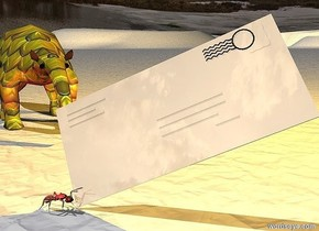 a tan shiny envelope is leaning 35 degrees to the northeast. a red shiny ant is -0.13 feet left of and -0.02 feet in front of the envelope. it is facing right. A small gold [texture] anteater is 0.4 feet behind and 0.08 feet to the left of the ant. it is facing southeast. the ground is texture. the ambient light is black. a orange light is .2 feet east of and above the anteater.