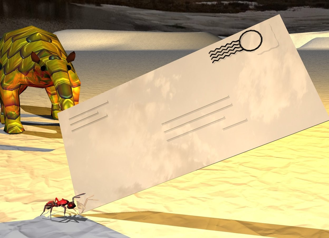 Input text: a tan shiny envelope is leaning 35 degrees to the northeast. a red shiny ant is -0.13 feet left of and -0.02 feet in front of the envelope. it is facing right. A small gold [texture] anteater is 0.4 feet behind and 0.08 feet to the left of the ant. it is facing southeast. the ground is texture. the ambient light is black. a orange light is .2 feet east of and above the anteater.