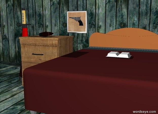Input text: The sword is to the left of the wood table.  A big cigar is on the table.  The ground is wood.  The wood wall is 3 foot behind the wood table.   A brown bed is to the right of the wood table.  A book is on the bed.  A small wood painting is on the wall just above the wood table.  There is a handgun in front of the painting. The handgun is six inches above the wood table. The handgun is facing left.