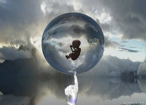 the white hand. The blue light is under the hand. the white light is above the hand.  the clear sphere is above the hand. the small baby is 0.3 feet above the hand. the white light is under the baby.   the ground is clear