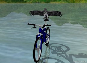 The eagle is on the bicycle.