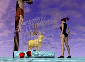 The gold deer fits in the large silver cage. A cross is ten inches behind the cage.   The ground is water.  The little girl is 8 inches in front of the cage. She is facing the cage. A pink light is on the girl.  An apple is 1 inch left of the cage.