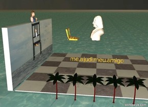 "checkerboard floor on ocean. large bust 5 feet above floor. 5 miniscule palm trees on the left of the floor. girl 4 feet in [chair] wall behind floor. large laptop computer 2 feet behind bust. small gold bold ""me.ajudi.meu.amigo"" 3 feet under bust facing left. slice of pizza in front of floor. sunset sky. bust facing back. pink light on the left. it is dawn."