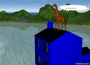 the giraffe is on a blue house