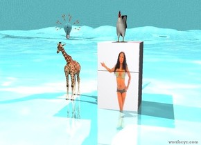 a tiny giraffe is two feet on the left of a [ines2] fridge on top of a mountain range.   a big light bulb is two inches above the giraffe.  the sky is dark water.  the ground is shiny water.  the pink light is two feet above the giraffe.  the pink light is two feet above the fridge.  a big cock is on top of the fridge.