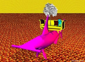 The cyan dog on top of a yellow couch.  The couch is on top of a big magenta fish.  the white tiny tree is on the left of the dog and on top of the couch.  the pink light is one feet above the tree.  the sky is fire.  the ground is fire.  the yellow light is on the right of the couch.