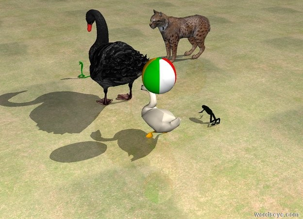 Input text: the tiny green snake is several inches in front of the large bird. snake is facing right. the ground is grass. the cat is 4 feet to the left of the snake. the cat is facing right. a swan is behind the bird. a small beach ball is above the swan. a large frog is 2 feet to the left of the swan.