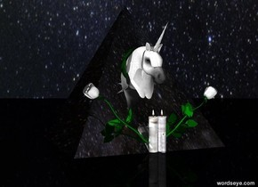 The large pyramid is shiny and black.  The pyramid is on the ground. The very small unicorn is -1.77 feet in front of the pyramid. The small unicorn is on the ground.  The first white flower is -2 inch in front of the pyramid. The first white flower is leaning 50 degrees to the left. The second white flower is -2 inch in front of the pyramid. The second white flower is leaning 50 degrees to the right.  The ground is black. The sky is [stars].  The first glass candle is to the left of the first flower.  The second glass candle is to the right of the second flower.  The third small glass candle is to the right of the second flower.  The third small glass candle is in front of the first candle.  The very small wreath is -6.5 inches in front of the pyramid. The very small wreath is .85 feet above the ground.