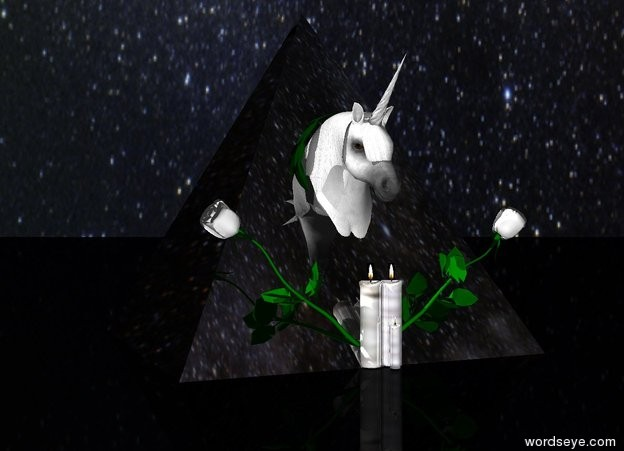 Input text: The large pyramid is shiny and black.  The pyramid is on the ground. The very small unicorn is -1.77 feet in front of the pyramid. The small unicorn is on the ground.  The first white flower is -2 inch in front of the pyramid. The first white flower is leaning 50 degrees to the left. The second white flower is -2 inch in front of the pyramid. The second white flower is leaning 50 degrees to the right.  The ground is black. The sky is [stars].  The first glass candle is to the left of the first flower.  The second glass candle is to the right of the second flower.  The third small glass candle is to the right of the second flower.  The third small glass candle is in front of the first candle.  The very small wreath is -6.5 inches in front of the pyramid. The very small wreath is .85 feet above the ground.