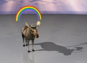 Gigantic moose under rainbow.