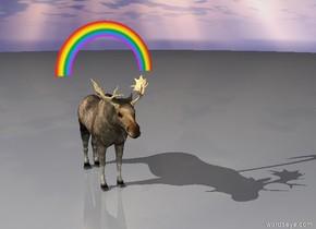 Gigantic moose under rainbow.