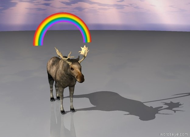 Input text: Gigantic moose under rainbow.