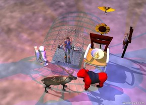 gold crocodile fits in a big bowl. the bowl is standing on a chair. The chair is 1 foot  in front of the sunflower. There is very big butterfly 1 foot above the sunflower. Large silver cage is 6 inches left of the chair. Girl fits in the cage.  The little man is facing the girl. There is a small deer in front of the cage. There is an small ape in front of the chair. the deer is facing the ape. the ape is facing the deer. It is red. There is blue light on the ape. Little cross is 2 feet right of the sunflower. the cross is facing the sunflower. There is red light on the cage