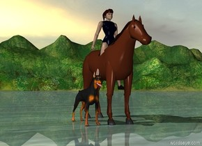 woodland.   girl in  the horse.  a  dog.
