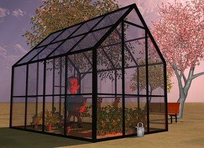 a greenhouse.a man is -6 feet in front of the greenhouse.the man is facing northeast.a first plant is 4 feet behind the man.a second plant is left of the first plant.a third plant is left of the second plant.a fourth plant is right of the first plant.a fifth plant is right of the fourth plant.a red light is in front of the first plant.a first cherry tomato is 1 feet in front of the third plant.a second cherry tomato is in front of the first cherry tomato.a third cherry tomato is in front of the second cherry tomato.a first potted plant is right of the man.a second potted plant is behind the first potted plant.a third potted plant is in front of the first potted plant.a first tree is 6 feet left of the greenhouse.a second tree is 6 feet in front of the first tree.a third tree is 10 feet left of the second tree.the ground is grass.the sun is pink.a watering can is behind the greenhouse.a park bench is -3 feet right of the first tree.the park bench is facing the greenhouse.