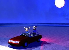 a 8 feet wide white moon is 20 feet above ground. a car is 30 feet in front of the moon and on the ground. a cartoon is -9 feet to the front of and -3 feet to the right of and -3 feet above the car. the cartoon is texture. 1st 3.5 feet tall professor is 1.6 feet behind and -1.1 feet above and -4 feet right of the cartoon. the shirt of the 1st professor is pattern. 2nd 3.5 feet tall  professor is -0.5 feet left of and -1.5 feet above the cartoon.  the shirt of the 2nd professor is paisley. the 2nd professor faces southeast. the ground is water. the water is 800 feet tall. a 300 feet wide unreflective dirt  pond is -0.1 feet below the car. the dirt is 500 feet tall. the sun is sky blue. 1st light is 1 inch in front of the headlight of the car. another light is 1 feet left of the 1st light. 3rd light is 1 feet right of the 1st light. the camera light is dim. the ambient light is blue. 3 powder blue lights are 2 inches in front of the cartoon. 1st red light is 1 inch behind the taillight of the car. 2nd red light is 1 feet right of the 1st red light.