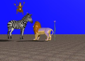 The ground is of sand. The sky is light blue. A shiny big cat is standing on the ground. A zebra is standing in front of the big cat. The zebra is facing the big cat. A huge shiny flower is standing behind the big cat. A monkey is standing on the zebra.
