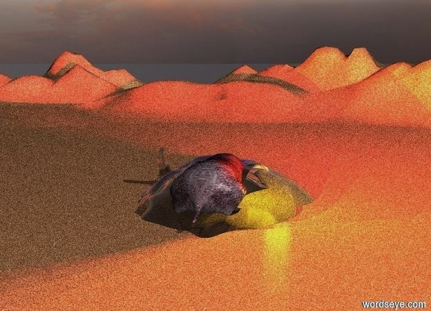 Input text:  a clear sand cave.ground is sand.the cave is -80 inch above the ground.a mole is -60 inch above the cave.the mole is 70 inch tall.ten red lights are above the cave.ten yellow lights are -40 inch above the cave.five blue lights are in front of the mole.ground is 60 feet tall.ambient light is gray.