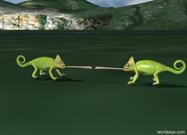 Input text: The first chameleon is facing the second chameleon. The second chameleon is facing the first chameleon.