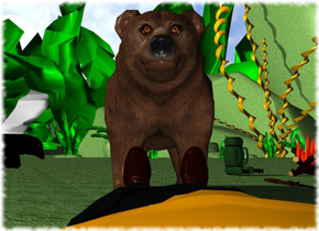 a brown bear. a man is 2 feet in front of the bear. the man is facing the bear. the man is leaning 90 degrees to the north. the ground is grass. a campfire is 5 feet northeast of the bear. the campfire is 5 inches in the ground. a backpack is 1 foot west of the campfire. the backpack is facing southeast. the backpack is on the ground. a rifle is 4 feet south of the backpack. the rifle is leaning 90 degrees to the west. a knife is 4.9 feet in front of the bear. the knife is .8 foot off the ground. the knife is leaning 60 degrees to the north. the knife is -13 inch west of the bear.
