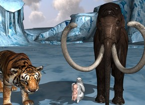 There is a white sloth. The sloth faces up. There is a very big baby behind the sloth. The baby is 1 feet above the ground. The baby is 0.1 inches away from the sloth. The baby faces  north. On the right side of the sloth is a very big  tiger. The tiger faces northwest. On the left side of the sloth is a Mammoth. The mammoth faces north. The sloth is 3 feet tall. The tiger is 7 feet tall. The mammoth is 13 feet tall.