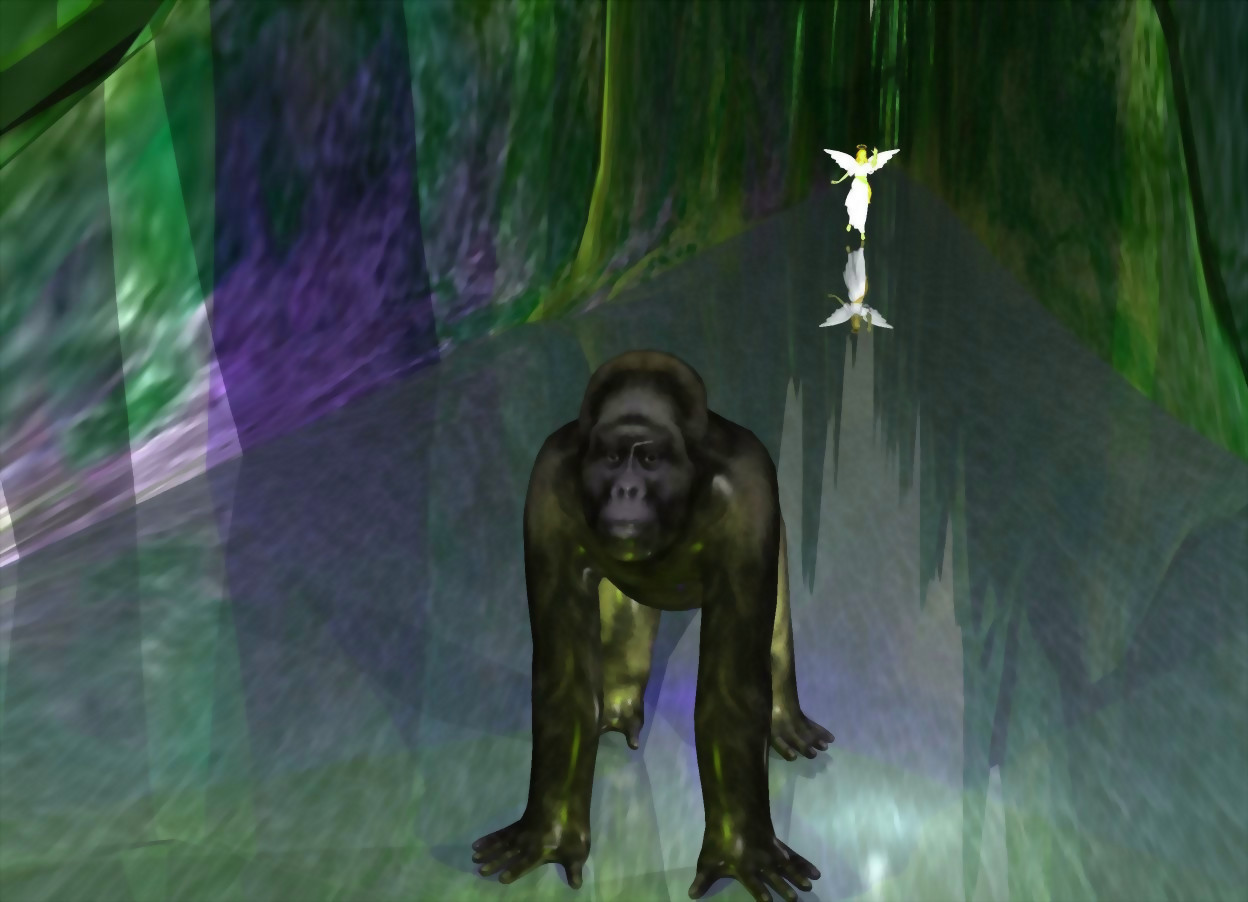 Input text: the ground is 100 feet wide. the ground is 40 feet long. the camera light is white. a gorilla is on the ground. a bright blue light is behind the gorilla. a bright yellow light is in front of the gorilla. a white light is east of the gorilla. an angel is 80 feet behind the gorilla.