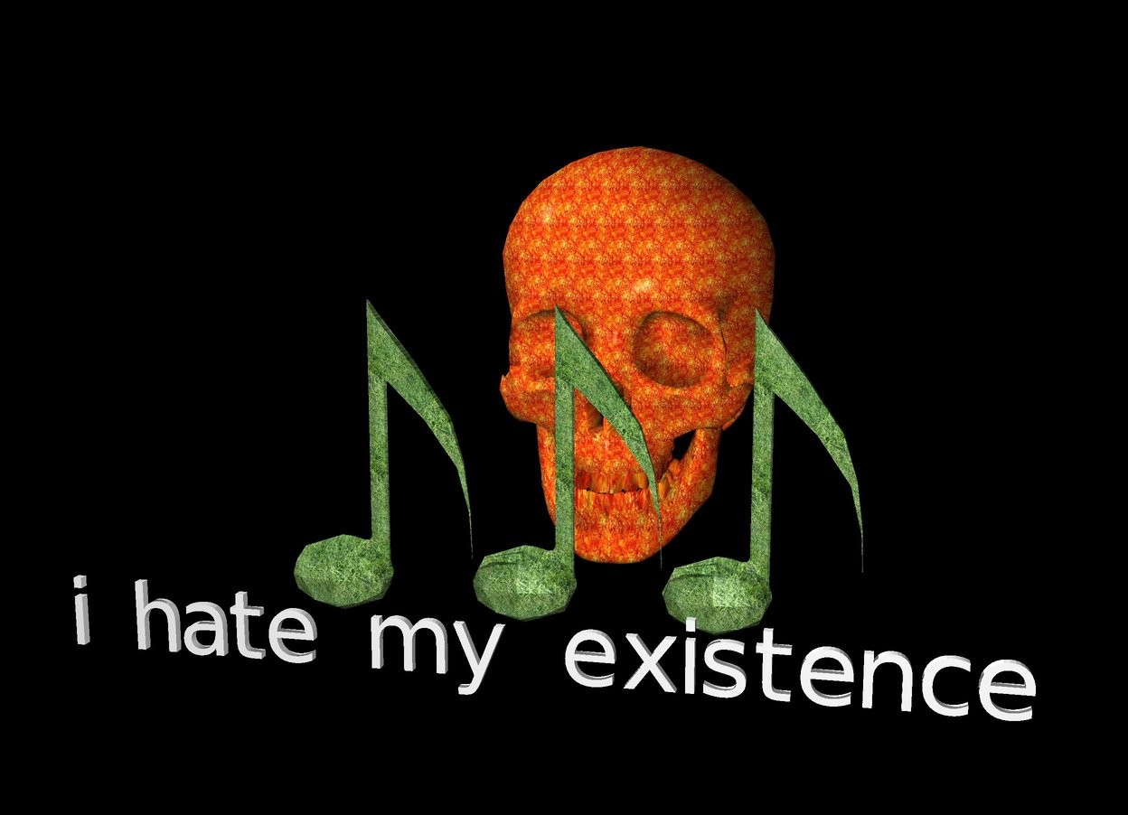 "Input text: the three notes are texture. the three notes are 10 feet off the ground. the ground is black. the sky is invisible. the ""i hate my existence"" is 5 feet in front of the notes. the notes are 10 feet tall. the ""i hate my existence"" is 2.5 feet tall.  the skull is 15 feet tall. the skull is texture. the skull is 5 feet behind the notes."