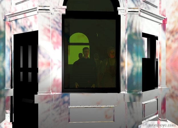 Input text: a silver kiosk.a 4 feet tall man is -16 feet above the kiosk.a 4 feet tall woman is right of the man.the man is black.a red light is in front of the woman.a blue light is in front of the man.clear ground.[paint]sky.