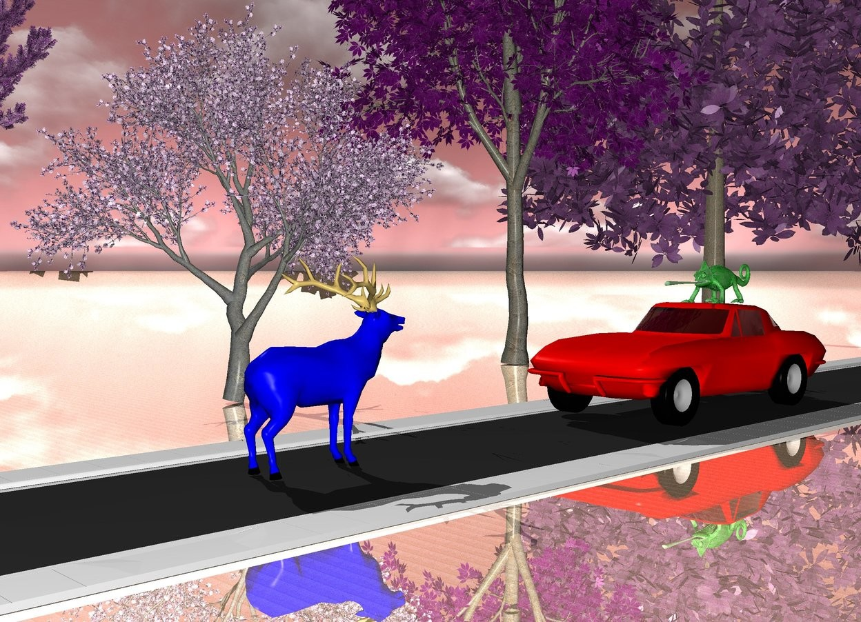 Input text: There is a red car. It stands on a road. The road is 1000 meters long. There is a cloudy sky. The sky is red. The ground is silver metal. There is a deer in front of the car. The deer is blue. The deer faces the car. The deer stands 3 meters away from the car. There is a chameleon on the car. The chameleon is green. The chameleon faces the deer. The chameleon is 25 inches high. There are 5 trees on the left side of the road. The trees are next to the road. The trees are purple.