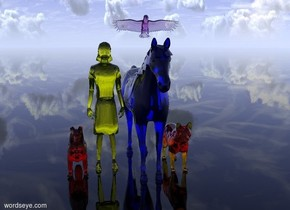 A huge transparent blue horse. A huge transparent yellow human is next to the horse. A huge transparent red dog is next to the human. The ground is of glass. A huge transparent orange cat is standing on the right side of the horse. A huge transparent violet bird is over the horse.