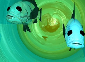 a shiny teal tube is leaning 90 degrees to the back. the tube is 20 feet wide and 20 feet deep and 30 feet high. a gigantic shiny gold sphere is -6 feet behind the tube. a 1st huge shiny pale green fish is 10 feet in the tube. a 2nd huge shiny pale blue fish is -5 foot over the 1st fish. the 2nd fish is 2 feet to the right of the 1st fish. a huge eel is 18 feet in the tube. the eel is facing right. the eel is in front of the 1st fish. the ambient light is teal. a small ship is -10 foot in front of the tube. the ship is facing left.