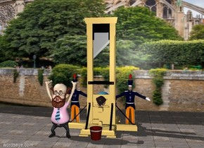 a guillotine. a huge [paris] wall is 6 feet behind the guillotine. the ground is stone. a boy is -5.5 feet behind the guillotine. the boy is leaning 90 degrees to the south. the boy is 2.5 feet off the ground. a man is -3 feet to the right of the guillotine. another man is -3 feet to the left of the guillotine. a professor is -1 feet south of the guillotine. the professor is -2 feet west of the guillotine. a bucket is in front of the guillotine.