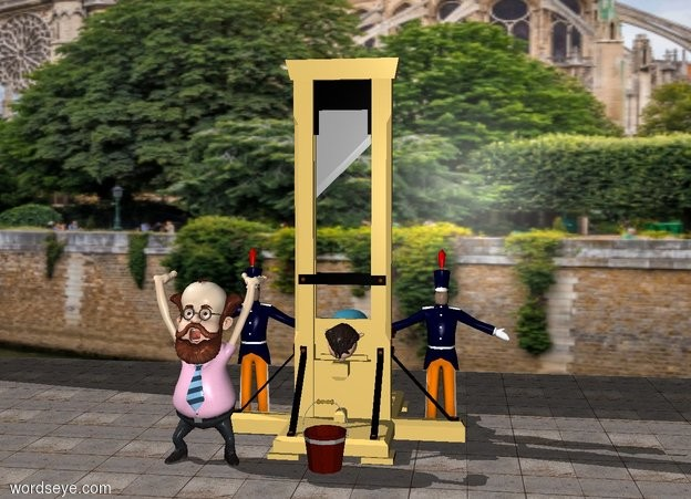 Input text: a guillotine. a huge [paris] wall is 6 feet behind the guillotine. the ground is stone. a boy is -5.5 feet behind the guillotine. the boy is leaning 90 degrees to the south. the boy is 2.5 feet off the ground. a man is -3 feet to the right of the guillotine. another man is -3 feet to the left of the guillotine. a professor is -1 feet south of the guillotine. the professor is -2 feet west of the guillotine. a bucket is in front of the guillotine.