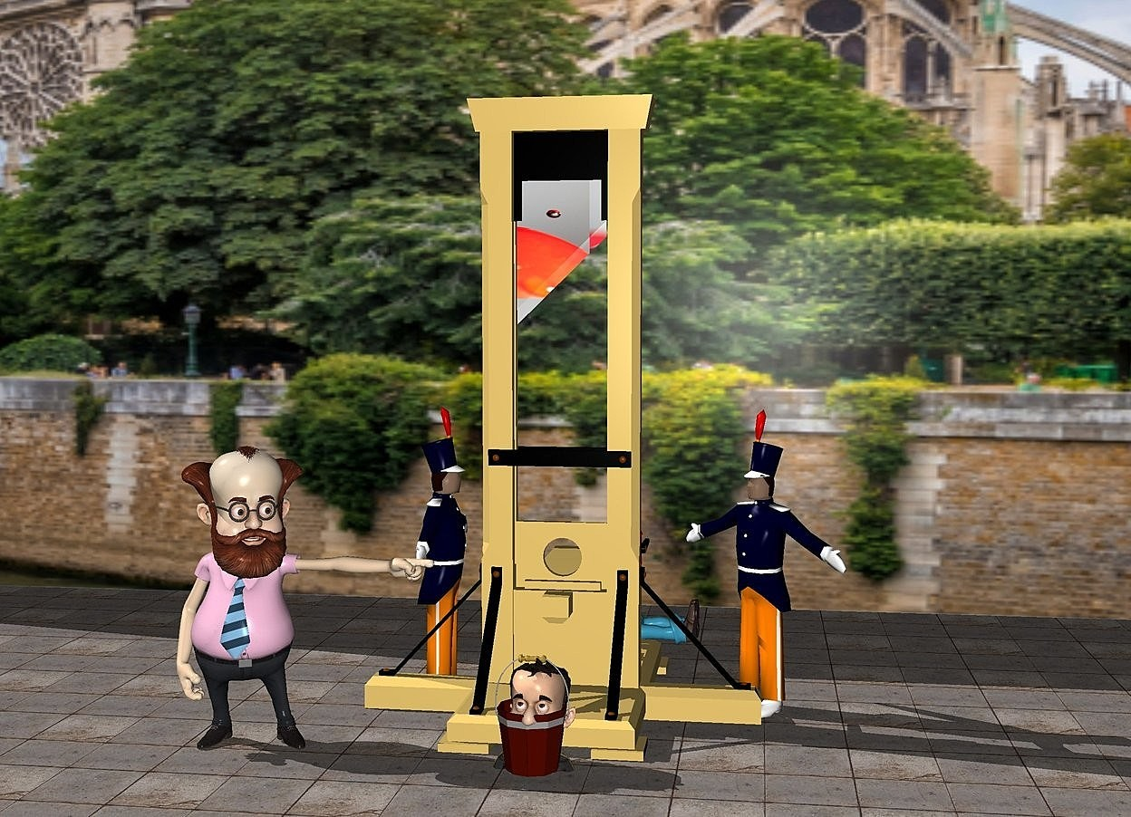 Input text: a guillotine. the guillotine's cutting blade is [red]. the [red] is 1 feet long. a huge [paris] wall is 6 feet behind the guillotine. the ground is stone. a man is -2 feet to the right of the guillotine. the man is facing southwest. another man is -2 feet to the left of the guillotine. the man is facing east. a professor is -1 feet south of the guillotine. the professor is -2 feet west of the guillotine. a bucket is in front of the guillotine. a boy is -5 feet above the bucket. the bucket is on the ground. the boy's shirt is clear. another boy is behind the guillotine. the boy is leaning 90 degrees to the north. he is facing east.
