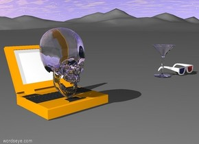 transparent skull on side wearing 3D glasses on top orange computer 2 foot away from a martini glass