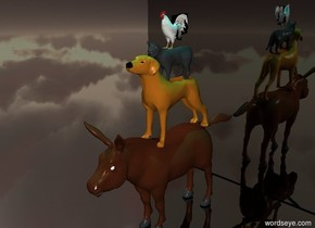 the huge shiny black cube is behind the small donkey . the   small dog is on the donkey . the small cat is on the dog. the small cock is on the cat. The cyan light is two feet above the dog . the ground is shiny black.