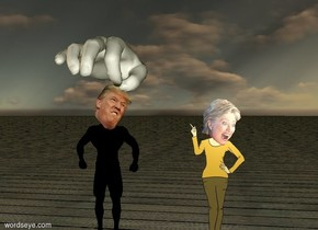 the small trump. his body is black. the enormous hand is facing down. it is -0.3 foot above him. the very thin pin is below the hand.  hillary is to the right of trump. she is 2 feet away from him. it is dusk. the ground is wood.