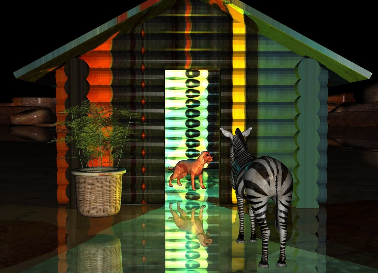 Input text: the red dog is in the matisse log cabin. the dog is facing southeast.  a cyan light is above the dog.  a yellow light is in front of the cabin.  A large fern is left of the dog. it is in front of the cabin.   the small zebra is two feet right of the fern. it is facing the dog. it is in front of the fern.  it is night. the ground is shiny.