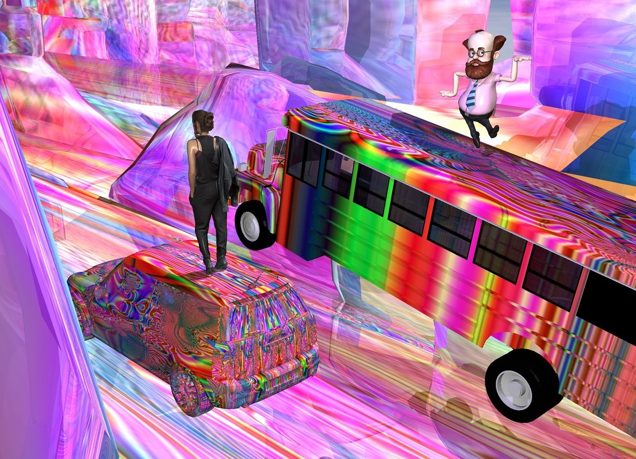 Input text: the [hippie] bus is 4 feet above the shiny [hippie] ground. the ground is 300 feet wide. the bus is leaning 10 degrees to the back. the mauve light is 6 feet above and 3 feet to the right of the bus. the man is 2 feet in the bus. the [hippie] mini is 7 feet to the right of the bus. a woman is 2 feet in the mini. the man is facing the woman.