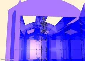a large shiny blue hangar. the ground is silver. a gigantic silver skeleton is -136 feet over the hangar. the sky is white. a black light is 1 inches in front of the alien. the ambient light is copper.