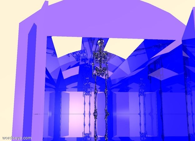 Input text:  a large shiny blue hangar. the ground is silver. a gigantic silver skeleton is -136 feet over the hangar. the sky is white. a black light is 1 inches in front of the alien. the ambient light is copper.